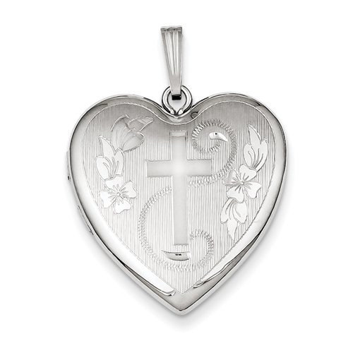 Sterling Silver 24mm D/C Cross Heart Locket