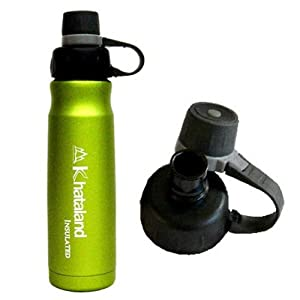 Khataland Insulated Stainless Steel Water Bottle, 500ml/16.9-Ounce, Green