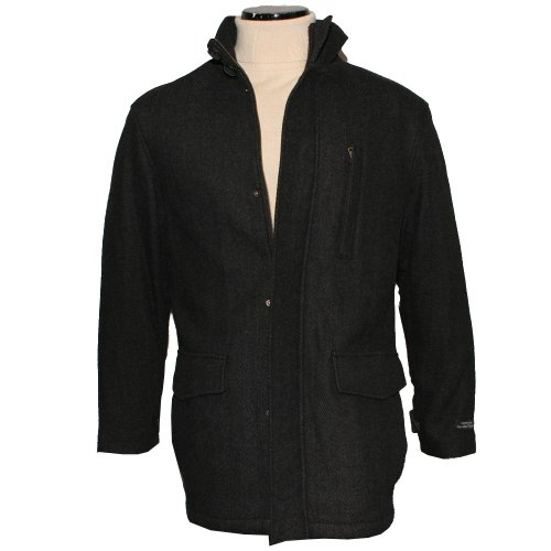 Mens Dark Charcoal Herringbone Wool Blend Car Coat Size Small