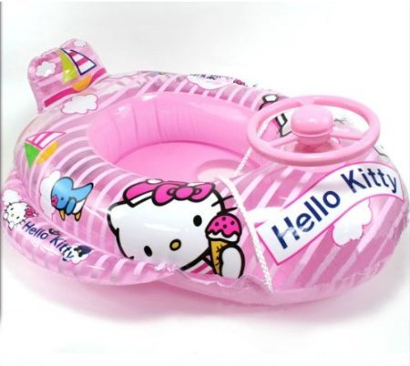Newhello-Kitty-Children-Swimming-Laps-Inflatable-Swim-Ring-Baby-Girl-Sitting-with-a-Steering-Wheel-Horn-Ring-Large-Boat-Ride-pink