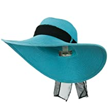 Ribbon Band Paper Braid Floppy Hat - Turquoise OSFM