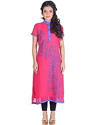 Aastha Creation Women's Georgette Straight Kurta (Pink, XL) - B016QDKZ5O