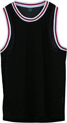 Angel Cola Men's Blank Plain Mesh Tank Top Basketball Jersey