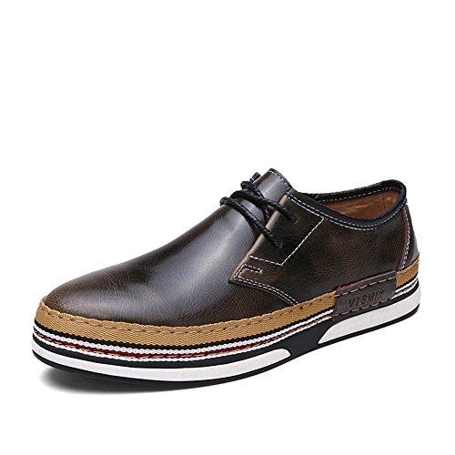 Caduta di uomini vestito scarpe casual business/[laccio di cuoio da uomo]/ British air scarpe rotonda testa maschile-A Lunghezza piede=25.8CM(10.2Inch)