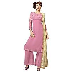 Admyrin Women Light Purple Georgette Dress Material