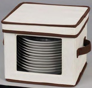 Household Essentials 532 Dinnerware Storage Chest for Dessert Plates or Bowls, Tan