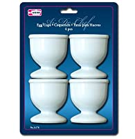 1 X Egg Cups Set 4 PC Poached Hard Boiled Breakfast White Save Kitchen Hot Food New from Symak Sales Co