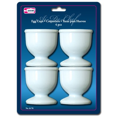 1 X Lot of 4 White Plastic Egg Cups Cook Hard Soft Boiled