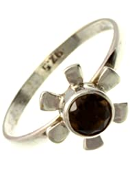 Exotic India Faceted Smoky Quartz Ring - Sterling Silver - B00BLNZ96K