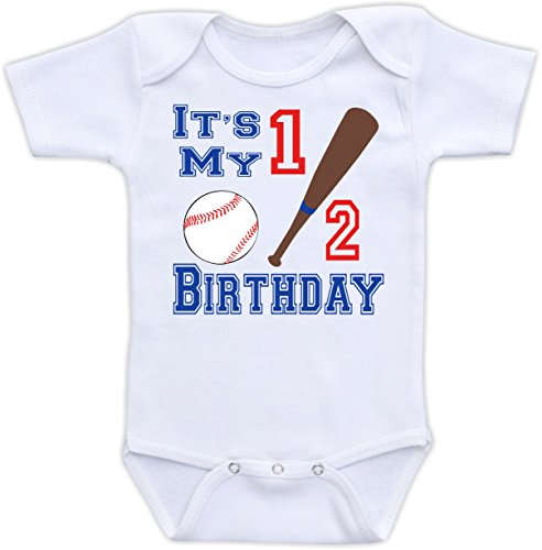 It'S My Half Birthday - Cute Baseball Baby Onesie (6-9M Bodysuit)