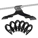 12 PCS Travel Hangers - Portable Folding Clothes Hangers Travel Accessories Foldable Clothes Drying Rack for Travel (Black) (Color: Black)