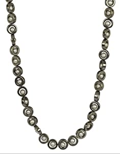 """Hematite Circles with Silver Grey Freshwater Cultured Pearl Necklace, 18"""""""