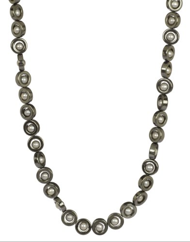 Hematite Circles with Silver Grey Freshwater Cultured Pearl Necklace, 18