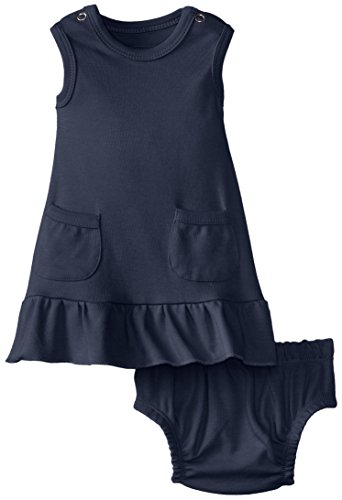 L'Ovedbaby Baby-Girls Newborn Organic Baby-Doll Dress, Navy, 12/18 Months front-724151