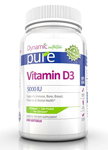 Vitamin D3 5,000 Iu Per Softgel, 240 Softgels By Dynamic Nutrition, All Natural, Safe And Effective Supplement That Supports The Immune System, Bone, Muscle, Breast, Prostate And Dental Health For A Stronger And Healthier You.