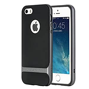 ROCK Anti-scratch Protection Ultra Thin Fit Dual Layered Heavy Duty Armor Hybrid Hard PC + Soft TPU Shell Case for Apple iPhone 5 / 5S - Grey / Black