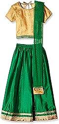 Atayant Girl Lehenga Choli (ATAYK_023_2:3YR_Gold:Green_S)