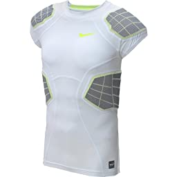 Nike Mens Pro Combat Hyperstrong 3.0 Compression 4-pad Football Shirt-White-XL