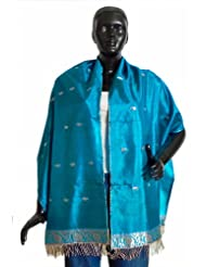Cyan Pure Silk Stole with All over Boota, Zari Border - Silk