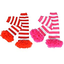 Wrapables Colorful Baby Leg Warmers (Set of 2) - Ruffles & Stripes
