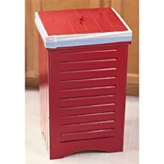 Red Wooden Kitchen Trash Bin Garbage Can