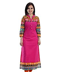 Fabdiamond Women's Cotton Kurti (1021_1_Pink_X-Large)
