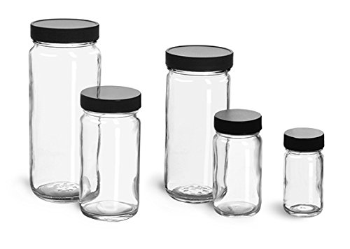 12 oz. Glass Jars, Clear Glass Paragon Jars w/ Lined Black Ribbed Plastic Caps (12 Jars) (Paragon Glass Jar compare prices)