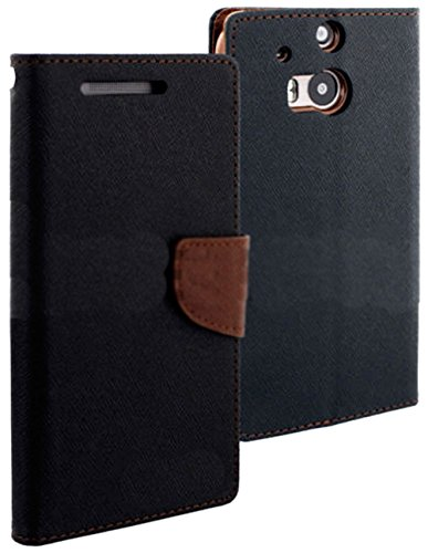 Mylife Dark Black And Brown {Fancy Bookmark Design} Faux Leather (Card, Cash And Id Holder + Magnetic Closing) Slim Wallet For The All-New Htc One M8 Android Smartphone - Aka, 2Nd Gen Htc One (External Textured Synthetic Leather With Magnetic Clip + Inter