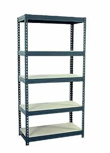 "Sandusky Lee CR3618 Gray Steel Boltless Rivet Particle Board Shelving, 72"" Height x 36"" Width x 18"" Depth, 5 Shelves"