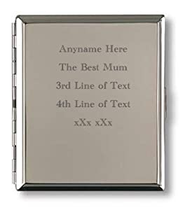 Personalised Engraved Cigarette Case - Silver Finish - Great Fathers/Mothers Day, Birthday or Christmas present