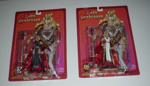 "Lady Pendragon PRIESTESS, Variant or Regular Edition, 6 1/2"" Poseable Action Figure with Sword, Spear and Shield"