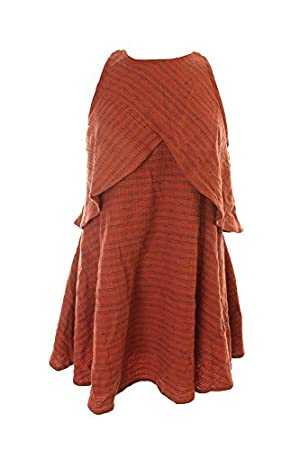 Free People Orange Teal Layered A-Line Dress M