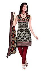 Araham Printed Black Synthetic/ Polyester/ SoftCrepe Dress Material/ Unstitched Salwar Suit