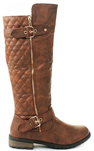 JJF Shoes Mango-21 Tan Dual Gold Buckle/Zipper Quilted Motorcycle Riding Knee High Boots-7.5