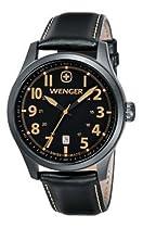 Wenger Terragraph Watch, Gunmetal Pvd Case Black Dial Black Leather Strap 541.105