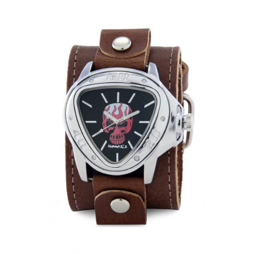 Nemesis-Mens-LBB929R-Independent-Red-Skull-on-Black-Dial-Leather-Cuff-Watch