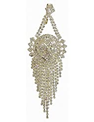 DollsofIndia White Stone Studded Jhoomar - Worn On The Left Side Of The Head Or As Mang Tika - Stone, Bead And...