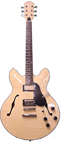 Oscar Schmidt Delta King Semi Hollow Electric Guitar, 2 Pickups, Natural, OE30FN (Semi Hollow Electric Guitar compare prices)
