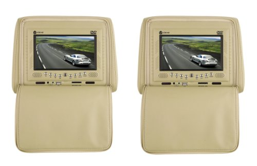 "Iclever Pair Of Beige Headrest 7"" Lcd Car Monitors With Region Free Dvd Player Usb Sd Wireless Headhones + Wireless Game Controllers + 32 Bit Games front-200952"