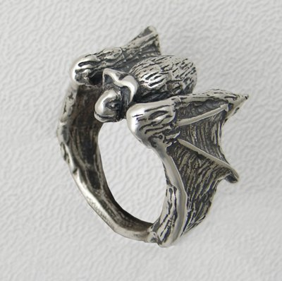 Heavyweight Sterling Silver Bat Ring, Made in America size 6 to 12 Available