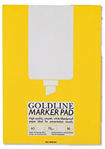 Goldline A3 Marker Pad Bleedproof 70gsm 50 Sheets (100 pages) White Ref GPB1A3