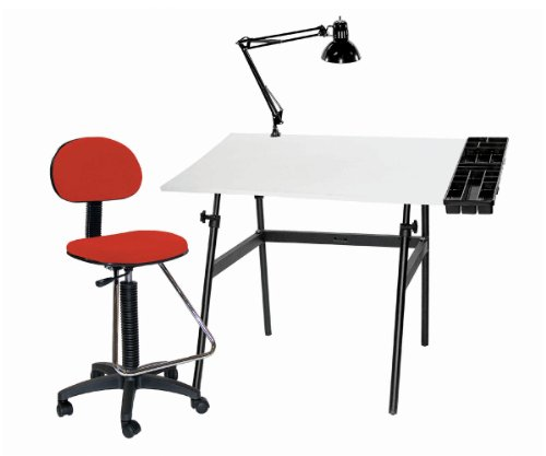 Martin Berkeley 4-pc Combo Black base w/ White Top Tray Lamp and Drafting Ht. RED Chair 4-pc Combo