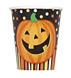 8 Vasos de cart�n calabaza sonriente Halloween