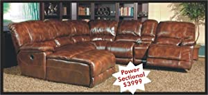 Thomasville Leather Sectional Power Motion Sofa
