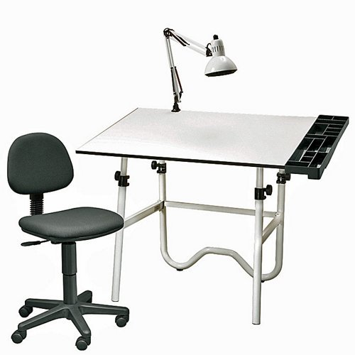Alvin CC Series Creative Center White Base Onyx Table With Office