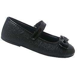 Melanie Taylor Little Girls Black Patent Glitter Bow Velcro Flats 10 Toddler