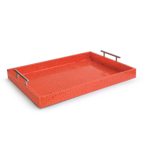 Accents by Jay Alligator Tray with Metal Handles, Rust