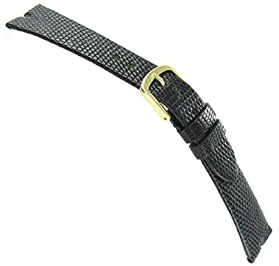 16mm Hadley-Roma Java Lizard Gucci Cut Black Unstitched Watch Band MS 972