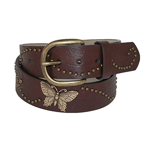 Rogers-Whitley Girls 1 1/4 Inch Vintage Floral Print and Butterfly Concho Belt