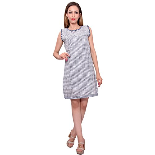 MSONS Women's White & Blue Short Kurti Dress in Cotton Fabric  available at amazon for Rs.298